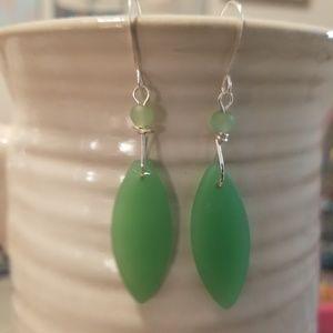 Jewelry - Beautiful Green Beachglass Earrings